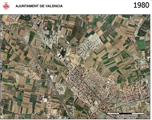 Avenida de les Corts Valencianes año 1980