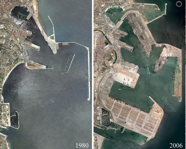 Puerto de Valencia. Antes y despues.